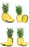 Ananas isolato su fondo bianco Insieme o raccolta Fotografie Stock Libere da Diritti