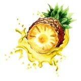Ananas mûr dans l'éclaboussure du jus d'ananas d'isolement sur le fond blanc Illustration tirée par la main d'aquarelle Photos stock