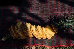 Ananas mûr coupé en tranches sur la plage Image libre de droits