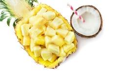 Ananas med kokosnöten arkivfoton