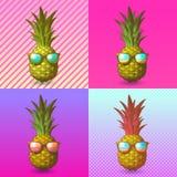 Ananas med solglasögonillustrationen på popkonst BG Royaltyfria Foton