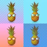 Ananas med solglasögonillustrationen på popkonst BG Arkivbild