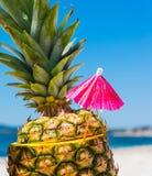 Ananas met cocktailparaplu stock foto