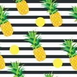 Ananas met Gouden Dots Seamless Pattern stock illustratie