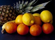 Ananas met mengeling van tropische vruchten, met inbegrip van sinaasappelen, citroenen royalty-vrije stock foto's
