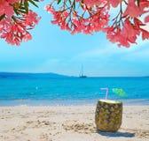 Ananas met stro en paraplu onder roze bloemen royalty-vrije stock foto's