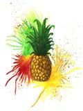 Ananas met waterverfnevels Stock Afbeelding