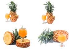 Ananas mit Saft Lizenzfreies Stockfoto