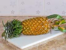 Ananas na plastikowym bielu bloku, desce lub Zdjęcia Stock