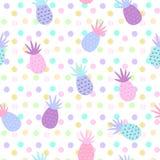 Ananas naadloze patronen op puntachtergrond Stock Foto