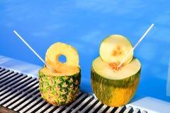 Ananas och melon bär frukt med sugrör på simbassängen Royaltyfri Fotografi