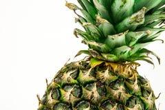 Ananas op witte achtergrond wordt geïsoleerd die De zomerfruit Royalty-vrije Stock Fotografie
