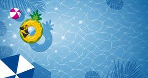 Ananas opblaasbaar in zwembad Royalty-vrije Stock Afbeelding