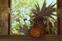 Ananas på trätabellen i landskök på bakgrund av trädgården bak landshus Royaltyfri Foto
