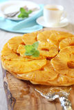 Ananas pie and cup of tea Royalty Free Stock Images