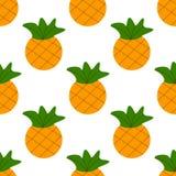 Ananas senza cuciture dell'oro di estate su fondo bianco reticolo senza giunte nel vettore royalty illustrazione gratis
