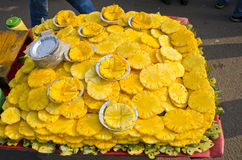 Ananas slices in India, Delhi bazaar Royalty Free Stock Photography