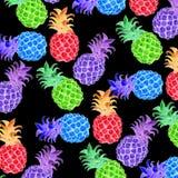 Ananas som ska svärtas, och söt frukt för fluorescerande elasticitet royaltyfri illustrationer