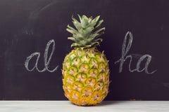 Ananas sopra il fondo della lavagna Vacanza di estate tropicale Immagine Stock