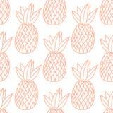 Ananas sui precedenti bianchi Modello senza cuciture di vettore con frutta tropicale Stile classico, linea arancio Fotografia Stock Libera da Diritti