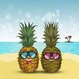 Ananas with sunglasses on the beach. Funny illustration of ananas with sunglasses on the beach vector illustration