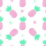 Ananas sur le fond blanc Modèle sans couture de vecteur avec le fruit tropical Style mignon de fille, rose Photos libres de droits