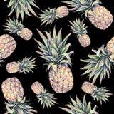 Ananas sur un fond noir Illustration colorée d'aquarelle Fruit tropical Configuration sans joint Image libre de droits