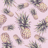 Ananas sur un fond rose Illustration colorée d'aquarelle Fruit tropical Configuration sans joint Copie d'été Photos libres de droits