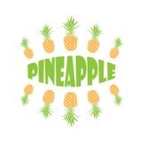 Ananas tiré par la main de vecteur avec la typographie illustration libre de droits