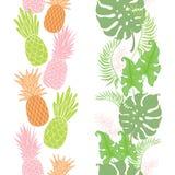 Ananas tropicali, strutture dei confini delle foglie messe Fotografia Stock