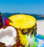 Ananas und Kokosnuss auf dem Strand Lizenzfreies Stockfoto