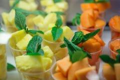Ananas und Melone mit tadellosen Blättern Stockfotografie