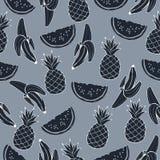 Ananas vattenmelon, banan i grå färgblått tonar, monokrom, den sömlösa modellen för tappning, frukttecknad filmbakgrund, hand Fotografering för Bildbyråer