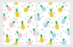 Ananas vectorpatroon Witte backgound Leuk Kinderabtstract-Ontwerp Royalty-vrije Stock Afbeeldingen