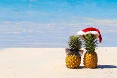 Ananas in vetri e cappello di Natale sulla sabbia bianca che trascura il mare blu fotografia stock