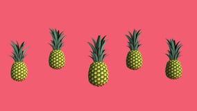 Ananas, vid?o de l'animation 3D sur le fond de corail vivant illustration de vecteur