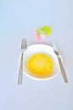 Ananas z rozwidleniem i nożem Obraz Stock