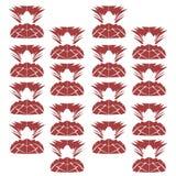 Ananases blancos rojos de los ornamentos exóticos del diseño Foto de archivo
