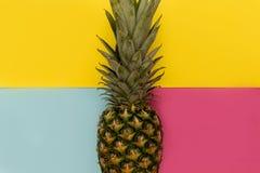 Ananasfruit op het gele concept van het achtergrond minimale de zomervoedsel stock afbeelding
