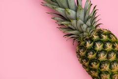 Ananasfruit op het roze concept van het achtergrond minimale de zomervoedsel stock fotografie