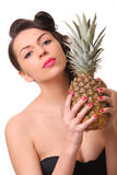 ananaskvinna Royaltyfri Bild