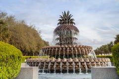 Ananasowa fontanna w nabrzeże parku, Charleston, SC zdjęcia royalty free