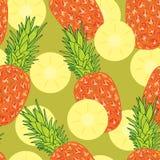 Ananasowego plasterka bezszwowy wzór Zdjęcia Stock