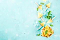 Ananasowi popsicle kije obrazy royalty free