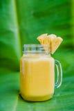 Ananasowy koktajl z plasterkiem na bananowy liść Tropikalny pojęcie Zdjęcia Royalty Free