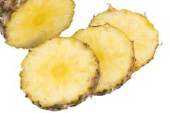 Ananasowy plasterek odizolowywający na białym tle Obrazy Stock