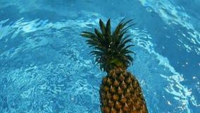 Ananasowy Unosić się W błękitne wody W Pływackim basenie Zdrowa Surowa żywność organiczna owoce soczysta tropikalny tło egzot zbiory wideo