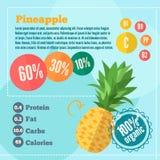 Ananasowy witaminy infographics w mieszkanie stylu royalty ilustracja