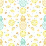Ananasowych owoc tła wektoru bezszwowy deseniowy format royalty ilustracja