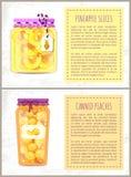 Ananasplakken en Peaches Vector Illustration royalty-vrije illustratie
